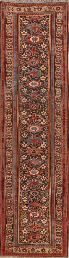 Antique Vegetable Dye  4x14 Bidjar Halvaei Persian Rug Runner
