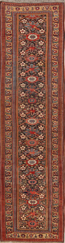 Antique Vegetable Dye  4x14 Bidjar Halvaei Persian Rug Runner