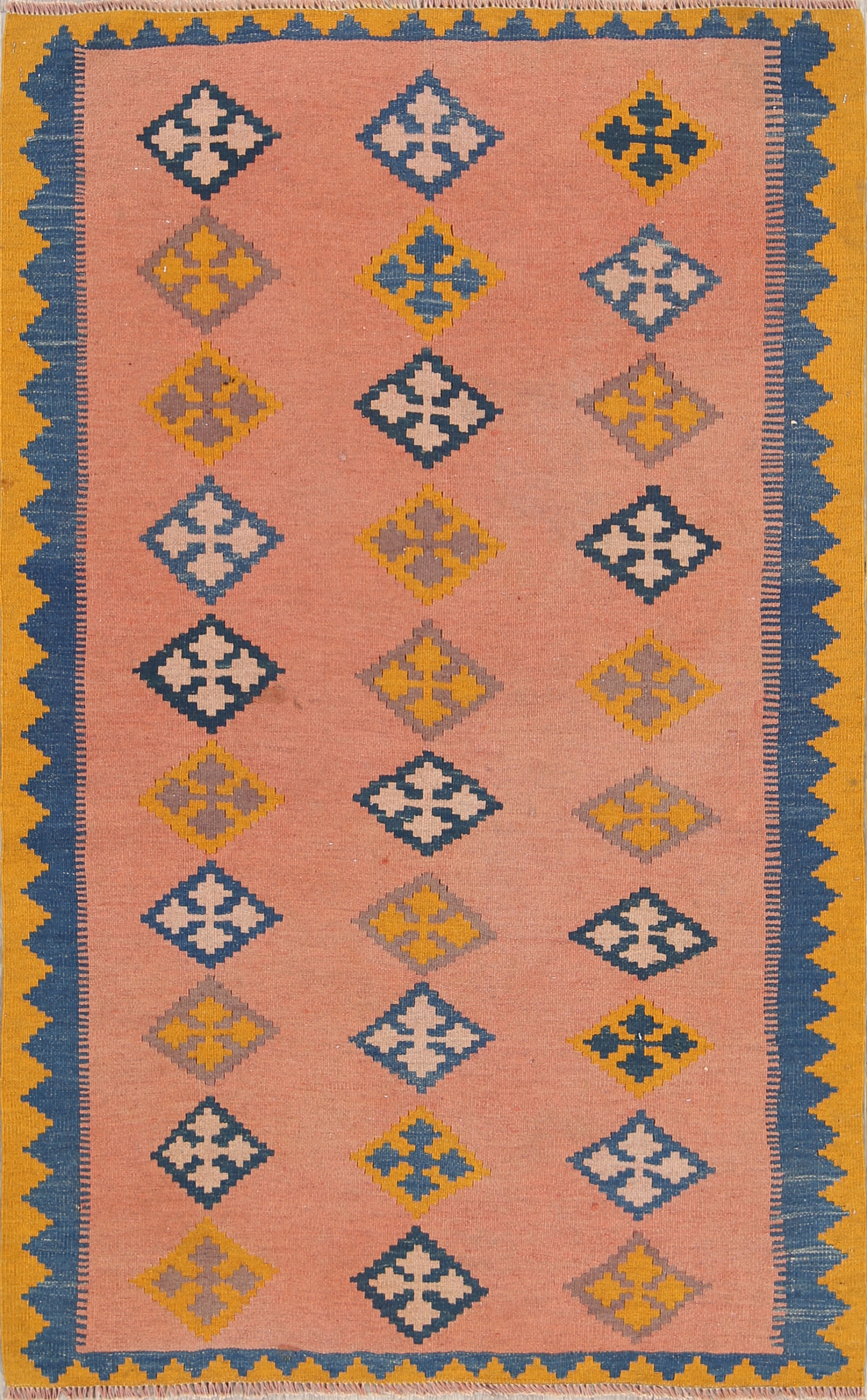 Flat-Woven Tribal Salmon 4x6 Kilim Shiraz Persian Area Rug