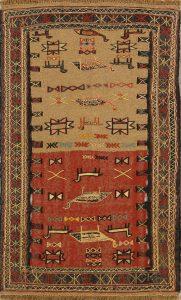 Little Animals Tribal Nomad 4x6 Kilim Shiraz Persian Area Rug