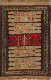 Geometric Flat-weave Tribal 4x6 Kilim Shiraz Persian Area Rug