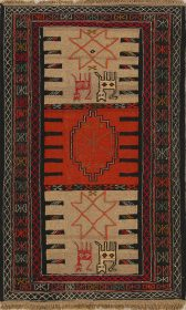 Tribal Animal Character Nomad 3x6 Kilim Persian Rug Runner