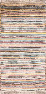 Striped Modern 2x5 Gabbeh Shiraz Persian Rug Runner