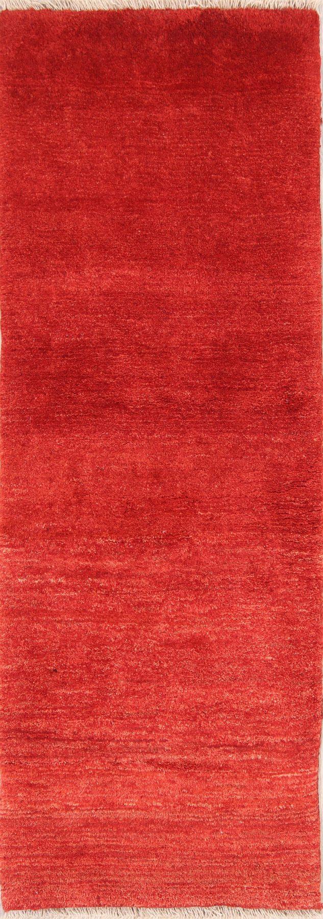Modern Solid Red 2x6 Gabbeh Shiraz Persian Rug Runner