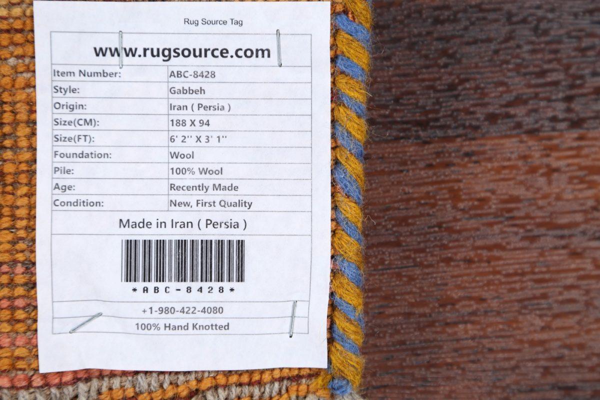 Thick Pile Tribal  3x6 Gabbeh Shiraz Persian Rug Runner
