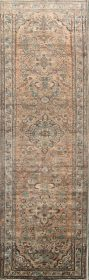 Floral Muted Rust Color 4x14 Lilian Hamedan Persian Rug Runner