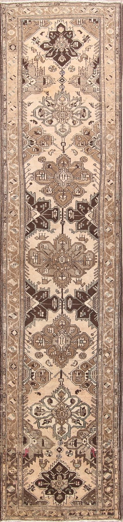 Geometric Muted 3x14 Hamedan Persian Rug Runner