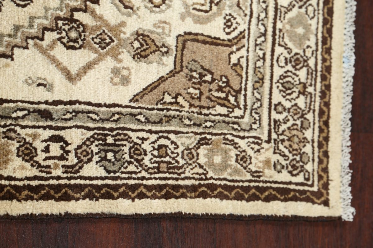 Geometric Muted 4x14 Hamedan Persian Rug Runner