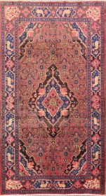 Geometric Animal Pictorial Rose Pink 4x8 Bidjar Persian Area Rug