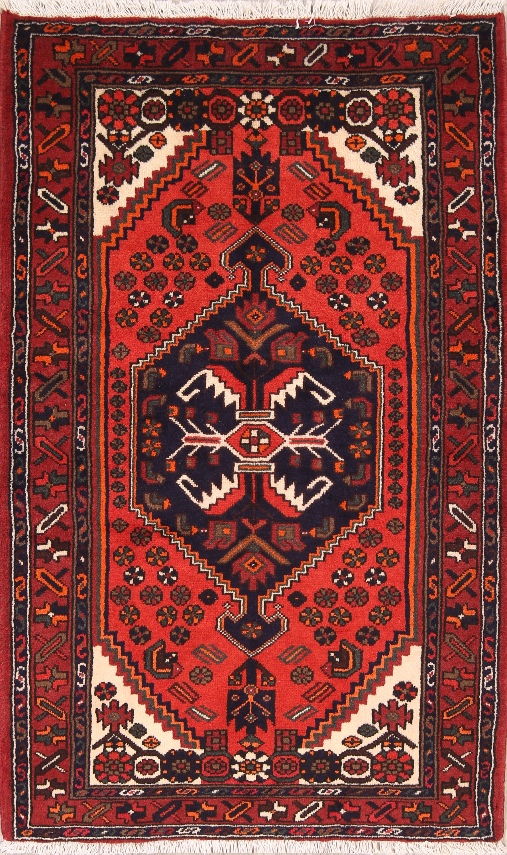 Geometric Tribal  3x6 Hamedan Persian  Rug Runner