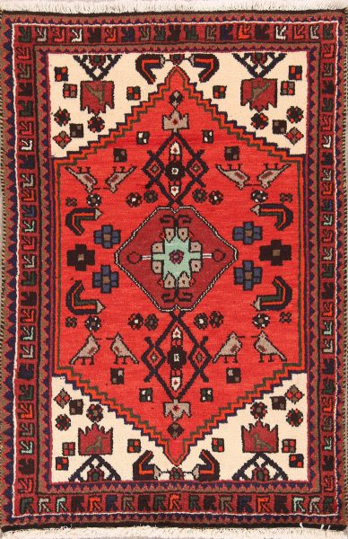 Geometric Little Animals 3x5 Hamedan Persian Area Rug