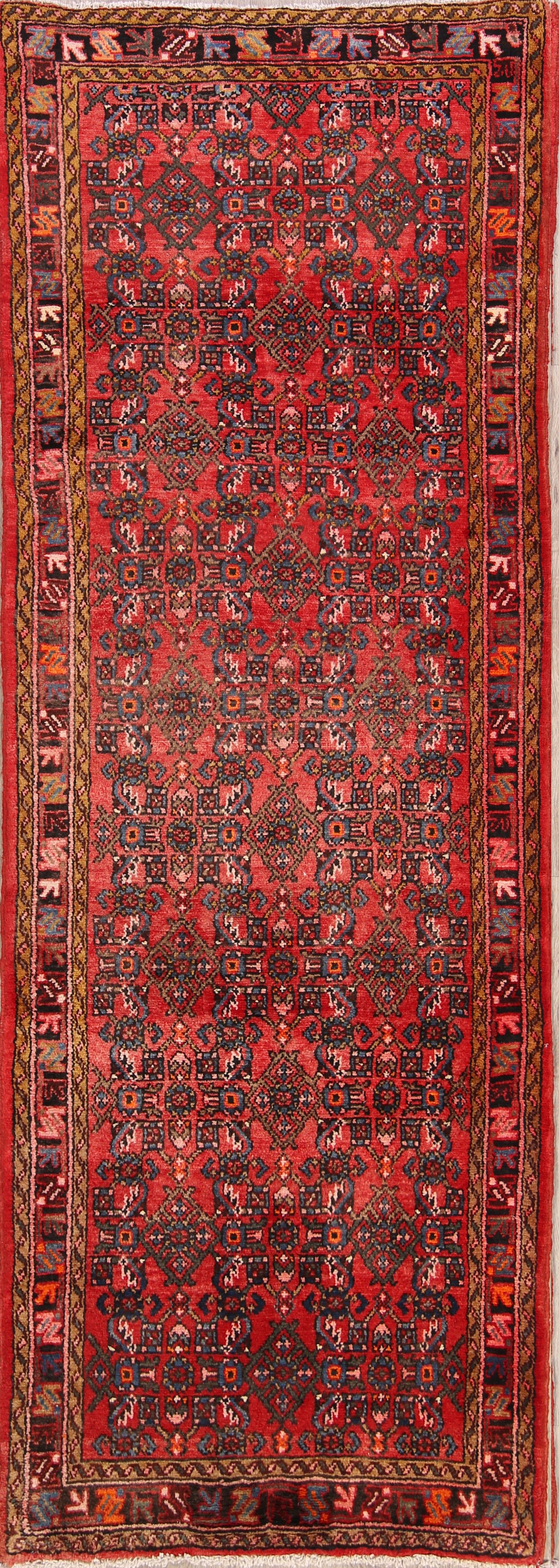 All-Over 4x10 Hamedan Persian Rug Runner
