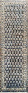 All-Over Geometric 3x12 Sarouk Persian Rug Runner