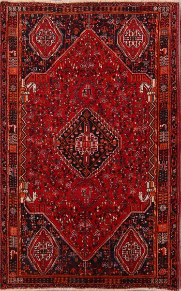 Tribal Geometric 5x8 Shiraz Persian Area Rug