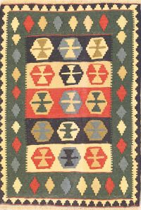 Tribal Flat-Woven 4x5 Navajo Kilim Shiraz Persian Area Rug