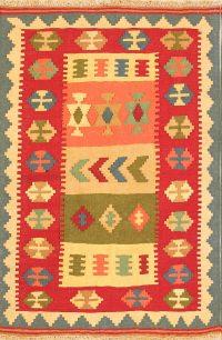 Geometric Flat-Weave 3x5 Kilim Shiraz Persian Area Rug