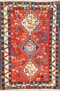 Animal Pictorial Tribal 3x5 Kilim Sirjan Persian Area Rug