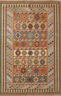 Geometric Tribal Flat-Weave 5x7 Navajo Kilim Shiraz Persian Area Rug