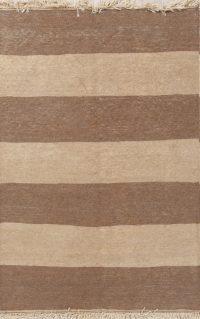 Striped Earth-Tone Modern 3x5 Kilim Shiraz Persian Area Rug