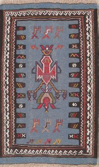 Little Animals Nomad Symbols Blue Tribal 2x3 Kilim Shiraz Persian Area Rug
