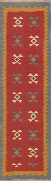 Geometric 3x9 Kilim Shiraz Persian Rug Runner