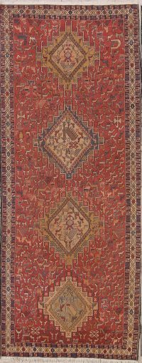 Flat-Woven Animals Nomad Tribal 4x9 Sumak Sirjan Persian Runner Rug