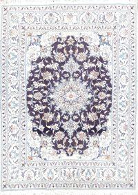 Floral Wool/Silk 5x6 Nain Persian Area Rug
