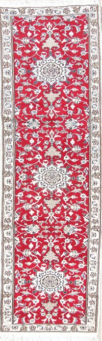 Floral Red 2x10 Nain Persian Rug Runner