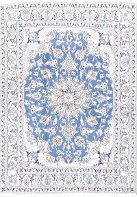 Floral Medallion Light Blue 5x7 Nain Isfahan Persian Area Rug