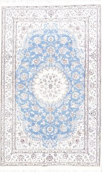 Floral Medallion Light Blue 5x8 Nain Persian Area Rug