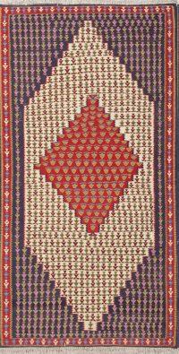 Geometric 3x6 Senneh Kilim Sumak Persian Rug Runner