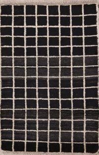 Checked Design 3x4 Gabbeh Shiraz Persian Area Rug