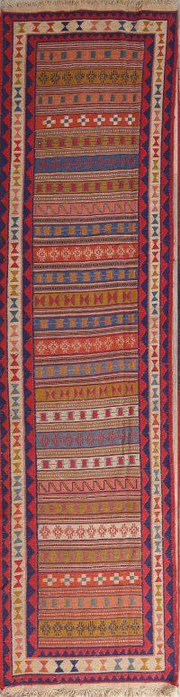 Geometric 3x9 Kilim Sumak Persian Rug Runner