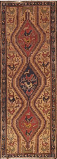 Animals Tribal Nomad 4x10 Sumak Sirjan Persian Rug Runner
