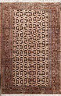 Geometric Ivory 7x10 Turkoman Baouch Persian Area Rug
