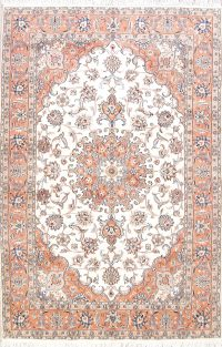 Floral Medallion Ivory 7x10 Tabriz Persian Area Rug