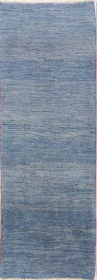 Solid Blue 2x7 Gabbeh Shiraz Persian Rug Runner