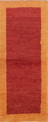 Solid Red Modern 2x6 Gabbeh Shiraz Persian Rug Runner