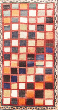 Checked Geometric 3x6 Gabbeh Shiraz Persian Rug Runner