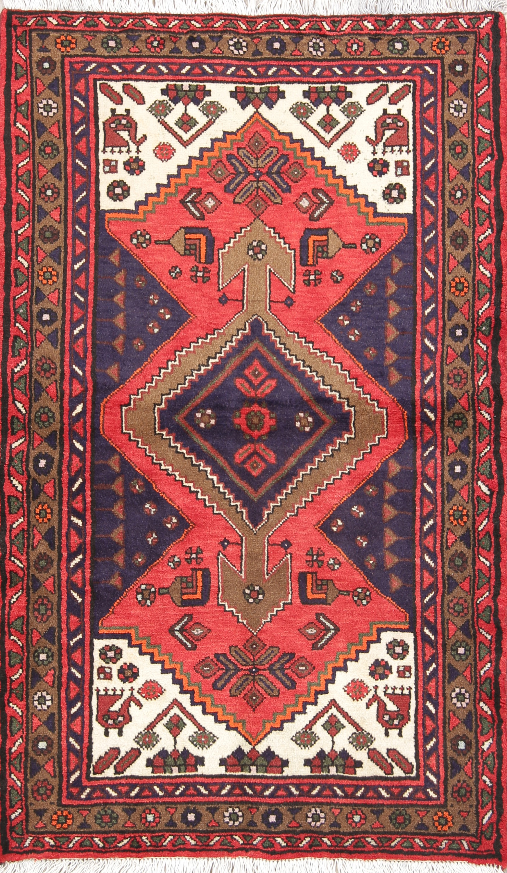 Geometric Tribal Foyer 3x5 Hamedan Persian Area Rug