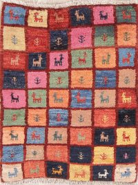 Checked Little Animals Tribal 2x3 Gabbeh Qashqai Shiraz Persian Area Rug