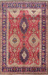 Geometric Pink 8x11 Tabriz Persian Area Rug