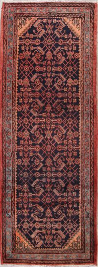 All-Over Geometric 4x10 Hamedan Persian Rug Runner