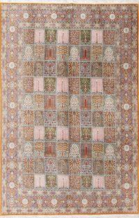 Floral 7x10 Qum Qom Ghom Persian Area Rug