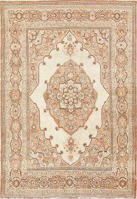Geometric Ivory 4x6 Tabriz Haj jalili Persian Area Rug