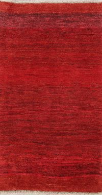 Solid 3x5 Gabbeh Shiraz Persian Area Rug
