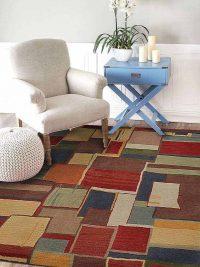 Hand Tufted Wool Square Area Rug Geometric Multicolor