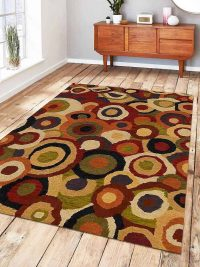 Hand Tufted Wool Area Rug Geometric Multicolor