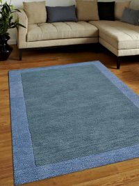Hand Tufted Wool Area Rug Solid Greenis Blue Light Blue
