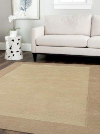 Hand Tufted Wool Area Rug Contemporary Greenish Beige Light Brown